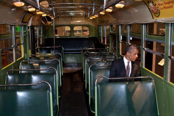 Obama on Rosa's Bus