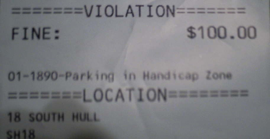 $100 FINE / VIOLATION - Parking In Handicap Zone
