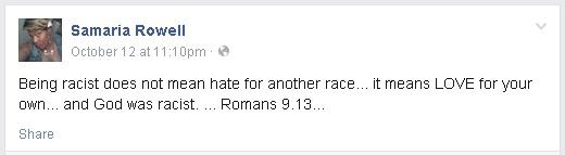 Samaria Rowell says GOD is a racist