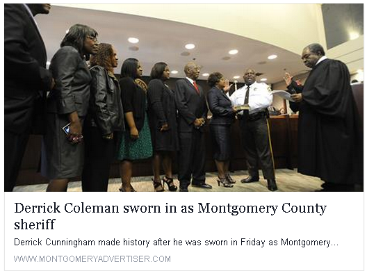 Montgomery Advertiser totally disrespects NEW Montgomery County Sheriff Derrick Cunningham by purposely changing - misspelling his last name