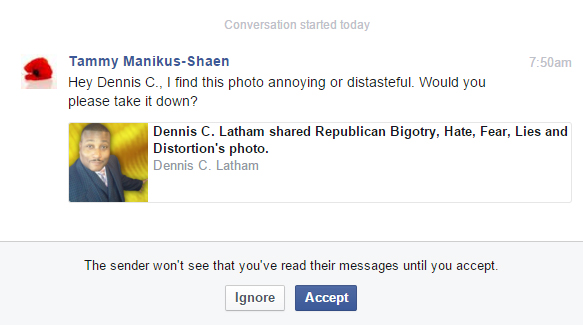 tammy manikjus-shaen hating TRUTH and attempting to get me banned from FaceBook